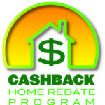 cashback home rebate logo a house outline inside a sunrise with a green border