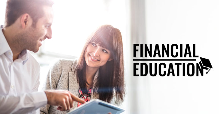 FINANCIAL EDUCATION - a man and woman learn about finances on their tablet