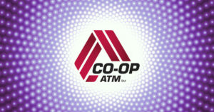 the co-op atm logo with a psychedelic purple border