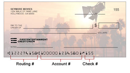 First Entertainment Credit Union check design
